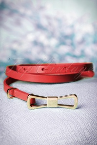 60s Golden Bow Belt in Red