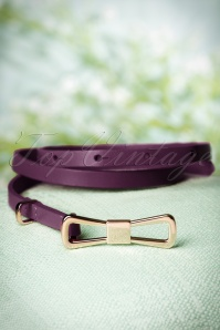 60s Golden Bow Belt in Shadow Purple