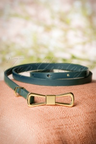 60s Golden Bow Belt in Dragonfly Green