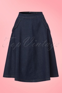 70s Delphi Chambray Skirt in Dutch Blue