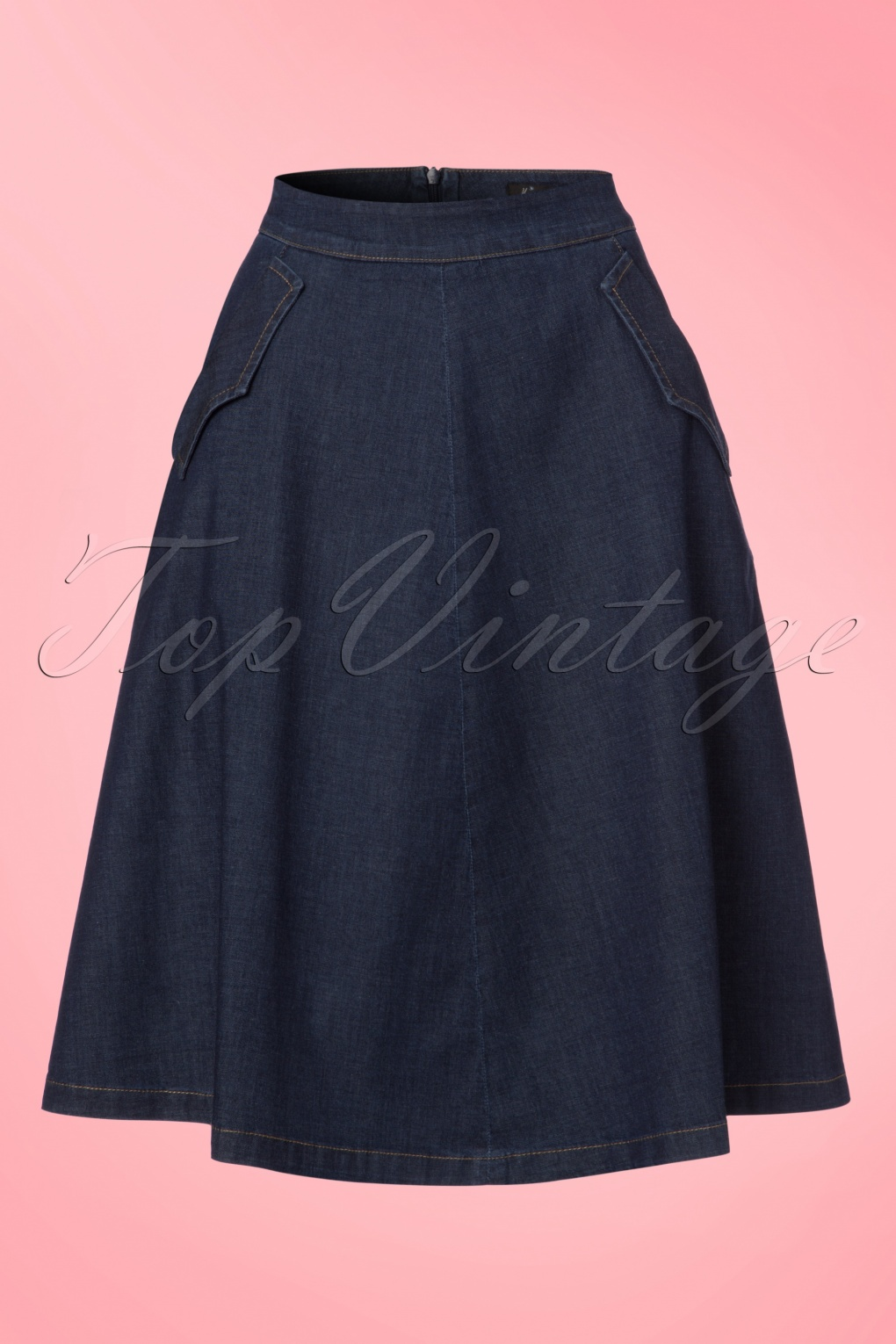 1960s Style Skirts 70s Delphi Chambray Skirt in Dutch Blue £61.38 AT vintagedancer.com