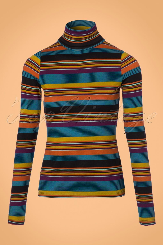 Retro Vintage Sweaters 60s Betsy Vision Rollneck Top in Lake Blue £48.22 AT vintagedancer.com