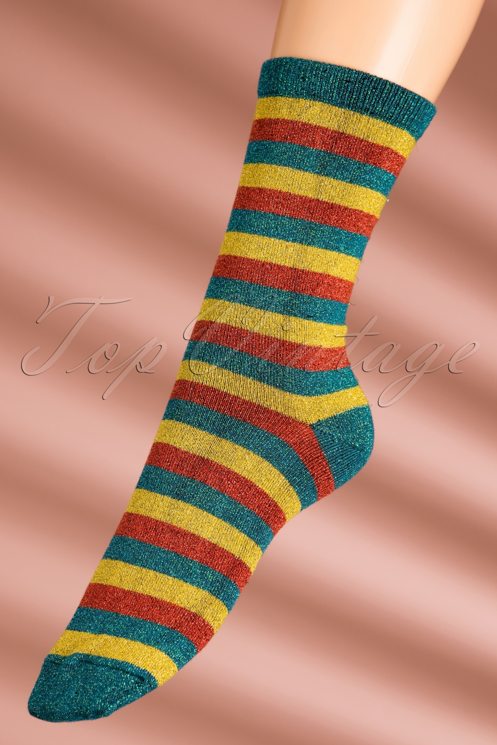 1960s Inspired Fashion: Recreate the Look 60s Lapis Stripe Socks in Orient Blue £11.36 AT vintagedancer.com