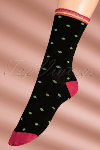 60s Party Polka Socks in Framboise Pink