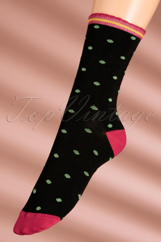 Vintage Socks | 1920s, 1930s, 1940s, 1950s, 1960s History 60s Party Polka Socks in Framboise Pink £11.78 AT vintagedancer.com