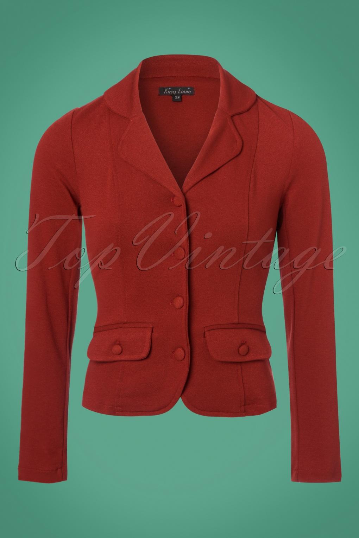 Retro Vintage Style Coats, Jackets, Fur Stoles 40s Milano Crepe Blazer Jacket in Rio Red £100.87 AT vintagedancer.com