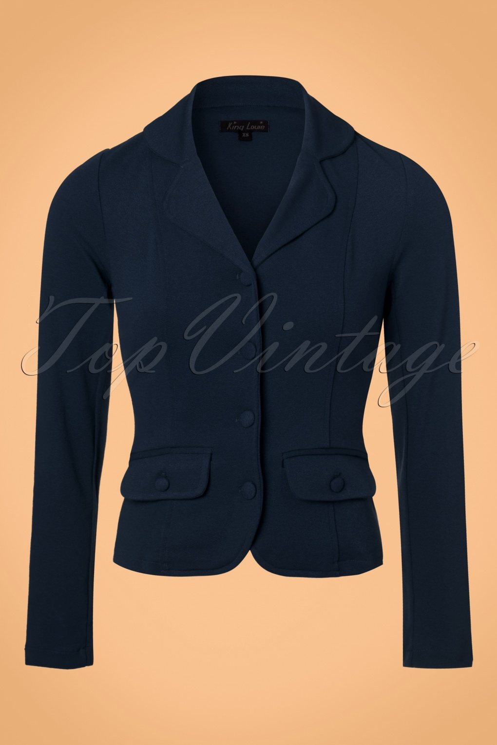 New 1940s Style Coats and Jackets for Sale 40s Milano Crepe Blazer Jacket in Dark Navy £104.23 AT vintagedancer.com
