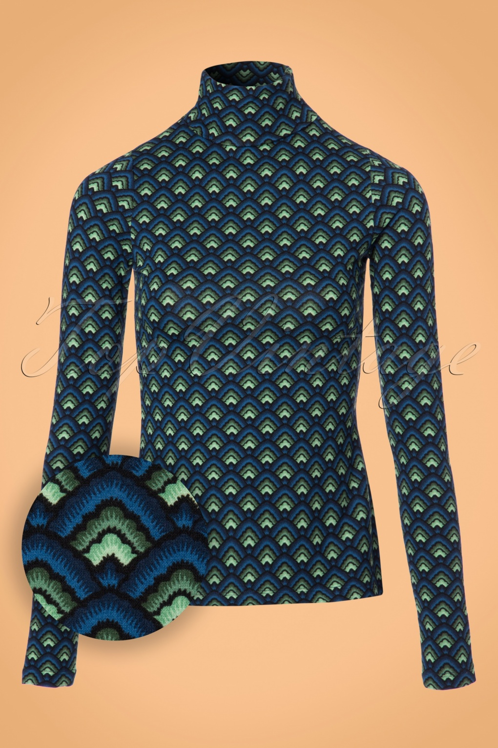 1960s Inspired Fashion: Recreate the Look 60s Betsy Fuji Rollneck Top in Dark Navy £48.22 AT vintagedancer.com