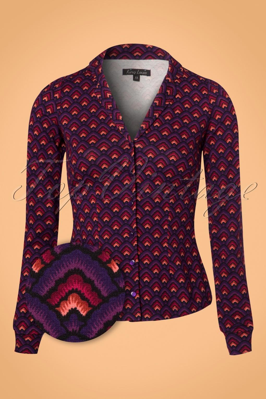 Retro Vintage Sweaters 60s Patty Fuji Blouse in Majestic Purple £61.38 AT vintagedancer.com