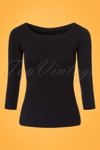 50s Sarah Long Sleeve Top in Black