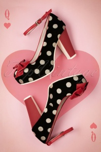 50s Angie Bow Polkadot Leather Pumps in Black