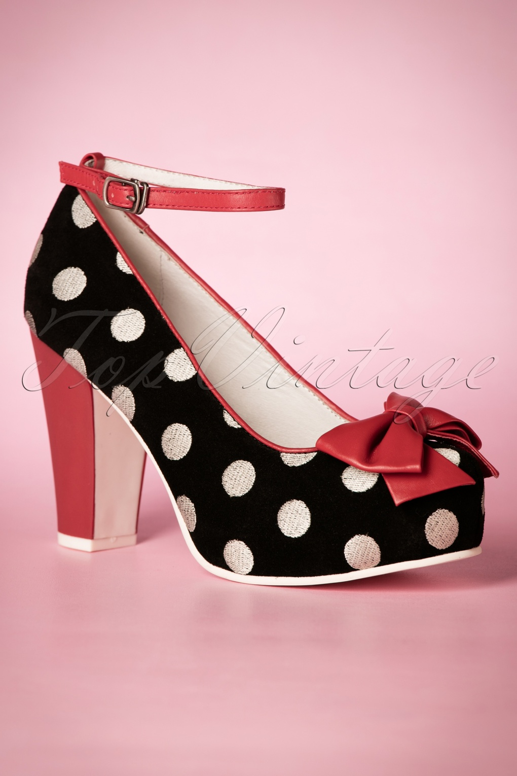 Pin Up Shoes- Heels & Flats 50s Angie Bow Polkadot Leather Pumps in Black £136.44 AT vintagedancer.com