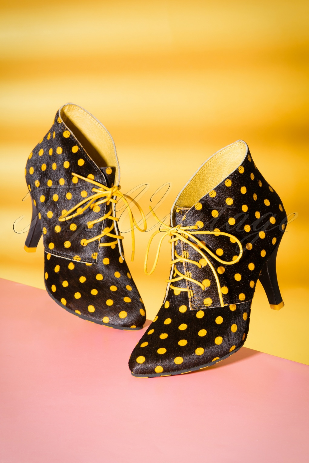 1950s Style Shoes 50s Kimberly Polkadot Stiletto Boots in Black and Yellow £141.84 AT vintagedancer.com