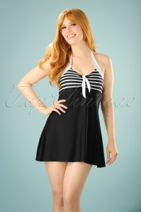 Belsira 50s Sophia Striped Swimdress in Black
