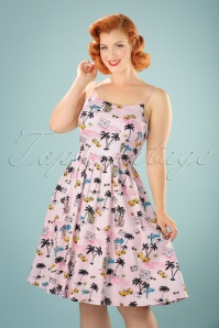 50s Marlene Miami Swing Dress in Light Pink