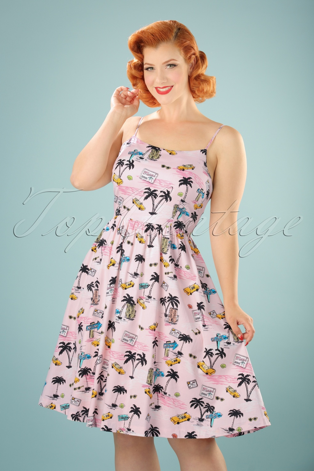 Pin Up Dresses | Pin Up Clothing 50s Marlene Miami Swing Dress in Light Pink £48.22 AT vintagedancer.com