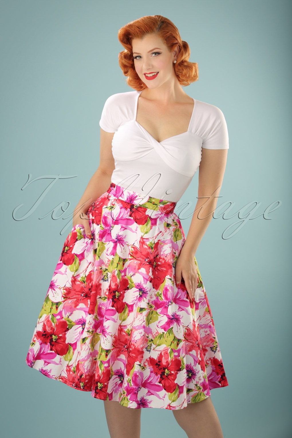 1950s Skirts; Pinup, Poodle, Pencil, Swing & Circle Skirts 50s Blossom Flower Swing Skirt in White and Pink £20.38 AT vintagedancer.com