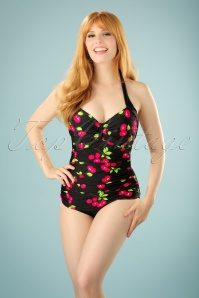 50s Cherry Swimsuit in Black