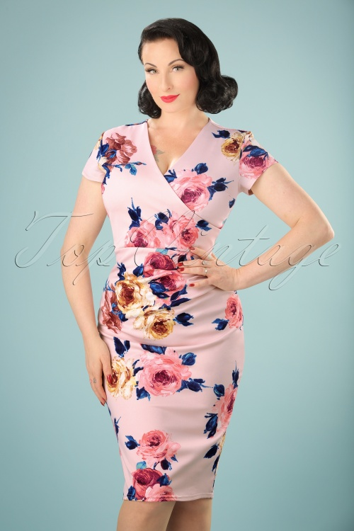 Vintage Chic Scuba Pink Floral Pencil Dress 100 57 21988 20170616 0007w