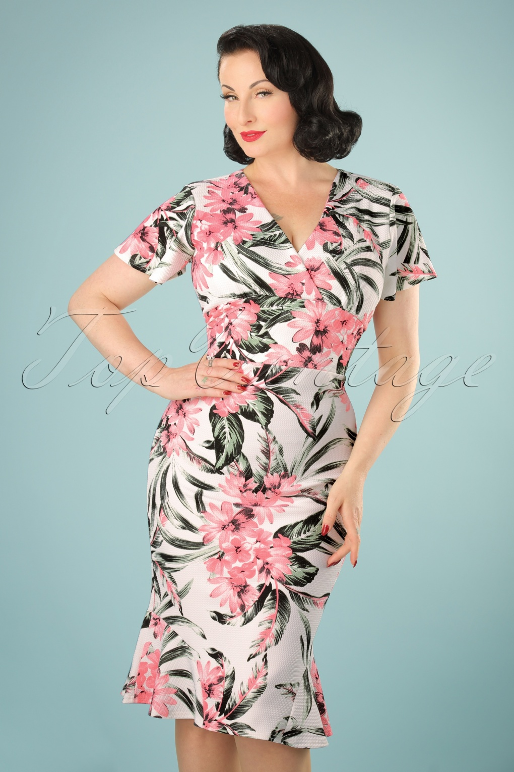 1950s Fashion Dresses:  Floral, Tropical, Tiki, Hawaiian 50s Peggy Tropical Waterfall Pencil Dress in Ivory £32.20 AT vintagedancer.com