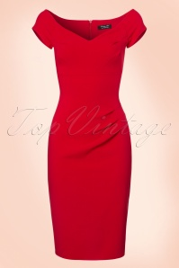 50s Candace Pencil Dress in Lipstick Red