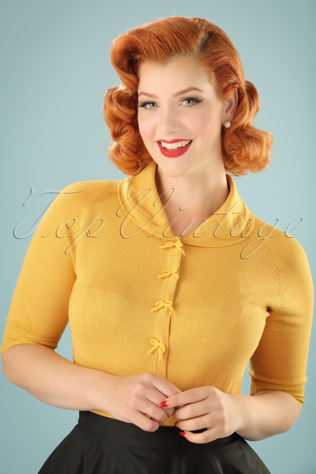 1950s Style Sweaters, Crop Cardigans, Twin Sets 40s April Bow Cardigan in Mustard Yellow £34.53 AT vintagedancer.com