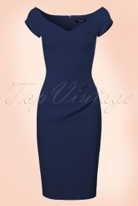 50s Candace Pencil Dress in Navy