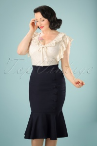 50s History Repeats Pencil Skirt in Navy
