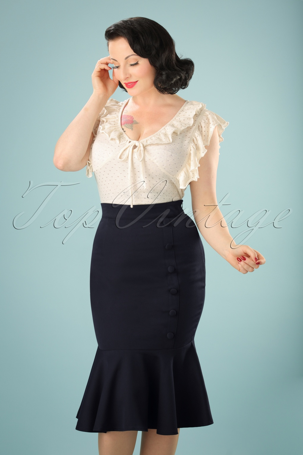 Tea Length 1930s Style Skirts for Sale 50s History Repeats Pencil Skirt in Navy £28.05 AT vintagedancer.com