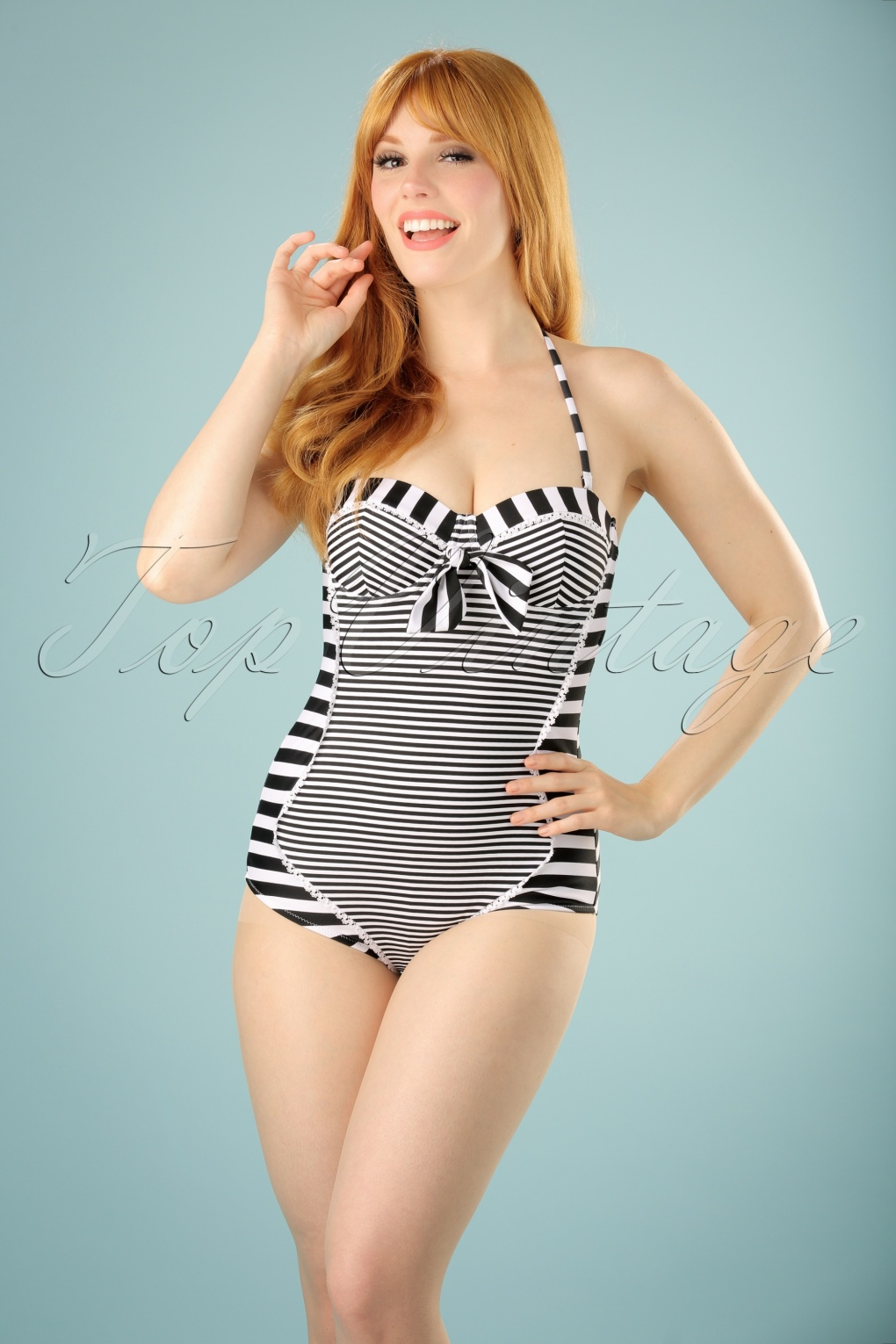 1950s Style Swimsuits, Bathing Suits, Swimwear 50s Nancy Stripes Halter Swimsuit in Black and White £36.05 AT vintagedancer.com