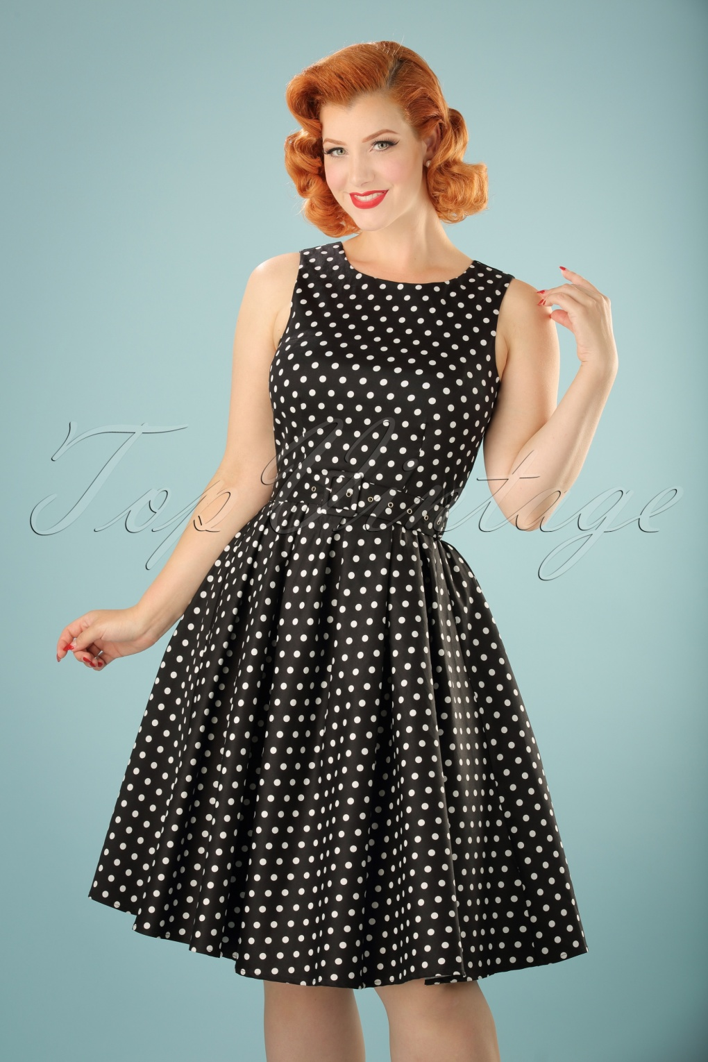 1940s Pinup Dresses for Sale 50s Lola Polkadot Swing Dress in Black £40.90 AT vintagedancer.com