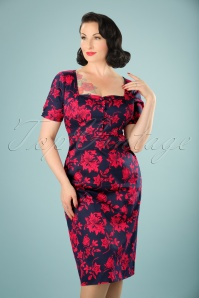 Dolly & Dotty Navy and Red Floral Dress 100 39 20722 20170529 01W