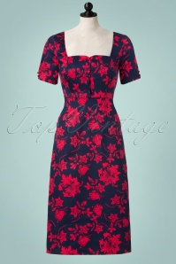 50s Daisy Floral Pencil Dress in Navy
