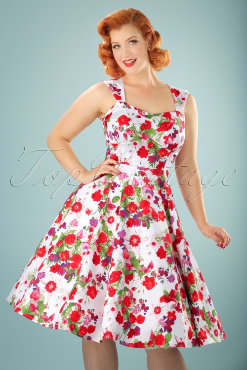 White Floral Swing Dress Hearts & Roses 102 59 17131 20151021 1W