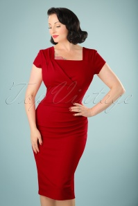 Vintage Chic 50s Laila Pleated Scuba Crepe Pencil Dress in Red 100 20 22210 20170706 0012w