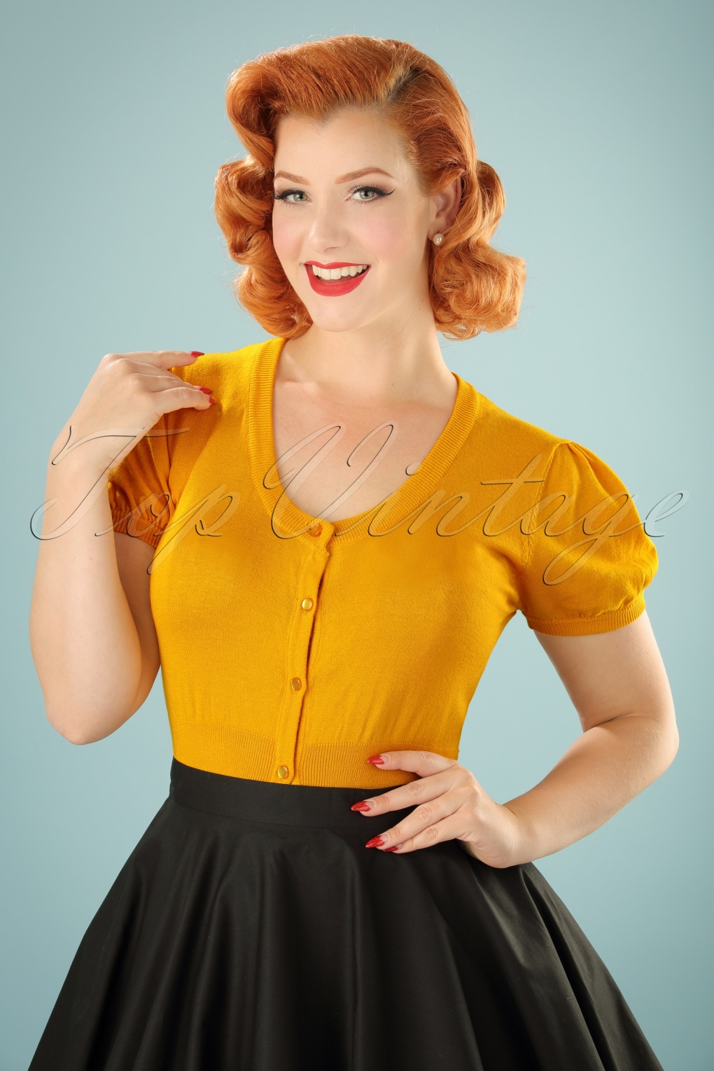 Vintage & Retro Shirts, Halter Tops, Blouses 40s Grace Cardigan in Yellow £15.79 AT vintagedancer.com