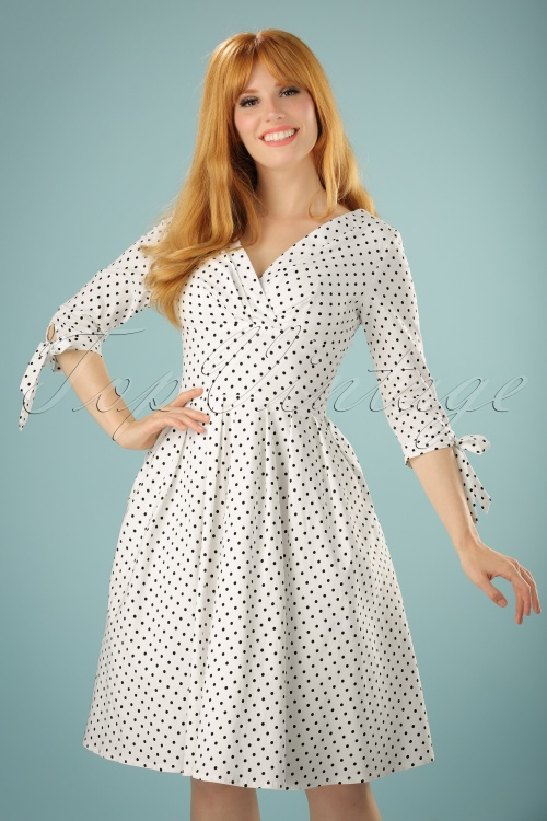Unique Vintage 50s Delores Polkadots Swing Dress in White 102 59 21458 20170622 0028w