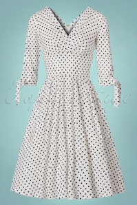 Unique Vintage 50s Delores Polkadots Swing Dress in White 102 59 21458 20170622 0015w