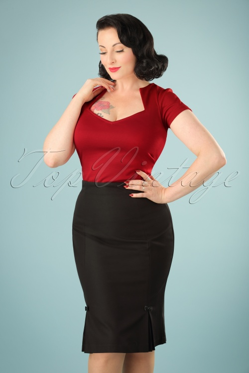 Hedendaags 50s Guideing Light Pencil Skirt in Black ZA-76