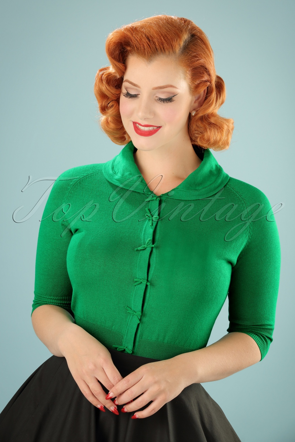 Vintage & Retro Shirts, Halter Tops, Blouses 40s April Bow Cardigan in Green £17.14 AT vintagedancer.com