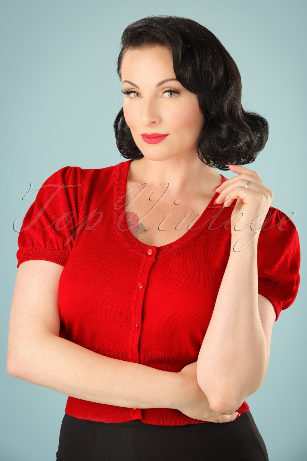 Vintage & Retro Shirts, Halter Tops, Blouses 40s Grace Cardigan in Red £15.79 AT vintagedancer.com