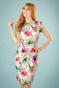 60s Caro Floral Pencil Dress in Ivory
