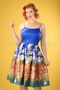 50s Marlene France Swing Dress in Blue