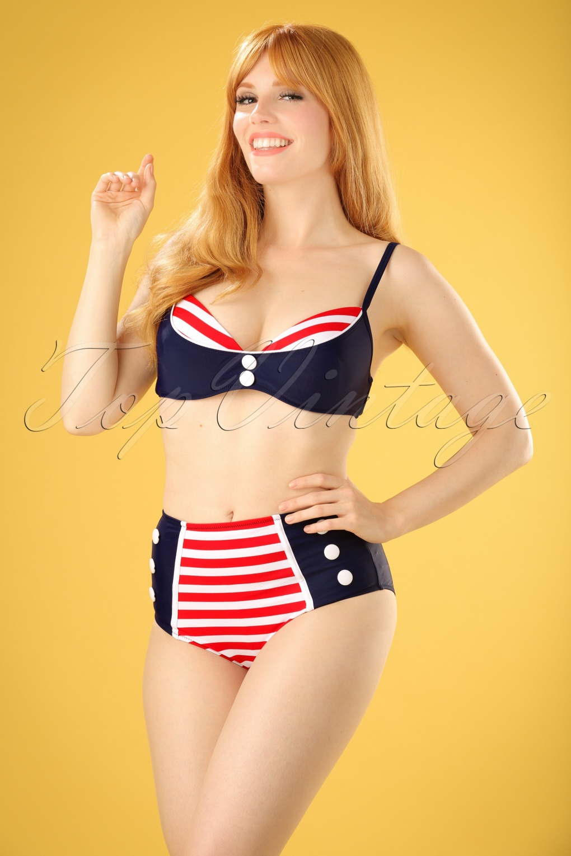 Joelle Stripes Bikini Années 50 en Bleu Marine et Rouge