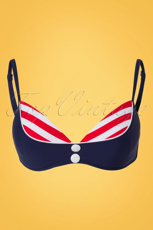 Joelle Stripes Bikini Top Années 50 en Bleu Marine et Rouge