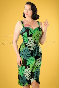 50s Mahina Tahiti Palm Sarong Dress in Green