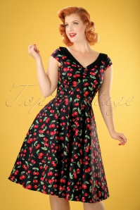 50s Cherry Pop Swing Dress in Black