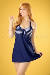 50s Sophia Striped Swimdress in Blue