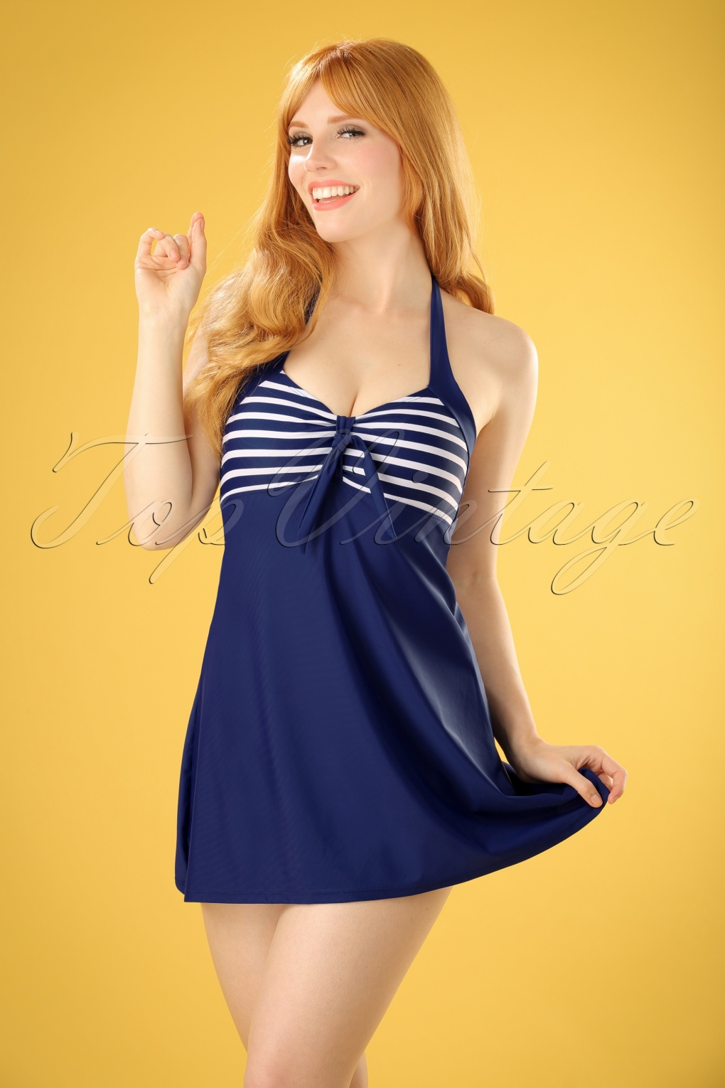 Vintage Bathing Suits | Retro Swimwear | Vintage Swimsuits 50s Sophia Striped Swimdress in Blue £43.93 AT vintagedancer.com