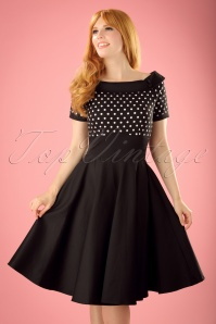 50s Darlene Polkadot Swing Dress in Black